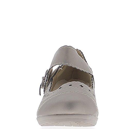 Chaussures femme bronze confort talon compensé de 4cm large bride