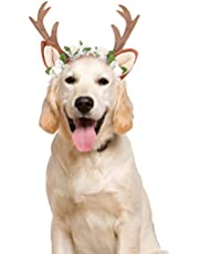 PEDOMUS Dog Cat Costume Christmas Headband Christmas Reindeer Antlers Cat Dog Headwear with Flowers for Large Dog