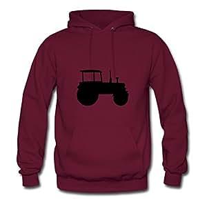 Regular Tractor Hoodies Hot Designed Burgundy Cotton X-large Women Customizable