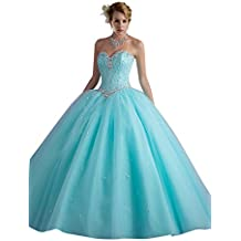 Dearta Women's Ball Gown Sweetheart Floor-Length Crystals Quinceanera Dresses