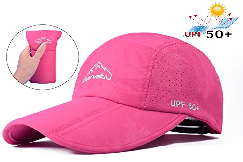 ELLEWIN Baseball Cap Quick Dry Travel Hats UPF50+ Cooling Portable Sun Hats for Sports Golf Running Fishing Outdoor Research with Foldable Long Large Bill, C-rose Red, ()