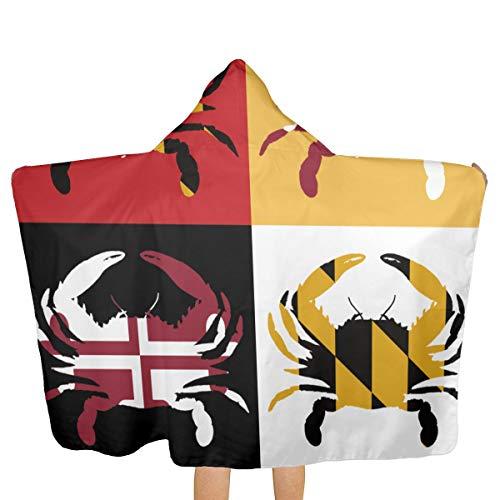 Maryland Blue Crab Art Design Beach Bath Towel Poncho with Hooded Multi-use Soft Fast Drying Swim Pool 31.8