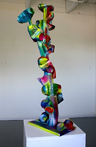 CHRIS RIGGS ABSTRACT TREE WOOD SCULPTURE 44'' x 16'' x 14'' SPRAY PAINT CANS FINE ART MODERN URBAN by Chris Riggs Art Gallery