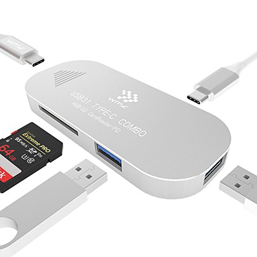 USB C Hub Multiport USB C to SD/TF Card Adapter, WMZ USB C Adapter with Charging Ports for MacBook Pro 2016/2017, Google Chromebook 2016, PC and More Type-C Devices (Silver) by WMZ