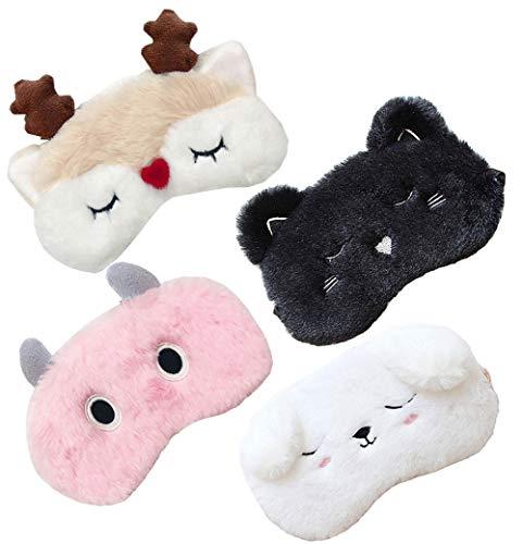 4 Pack Cute Animal Sleep Mask for Girls Soft Plush Blindfold Cute Cat Dog Deer Monster Eye Cover Eyeshade Sleeping Masks for Kids Teens Girls Women Men