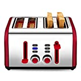 4 Slice Toaster, CUSIBOX Four Wide Slots Toaster Stainless Steel with 7 Bread Browning Settings, REHEAT/DEFROST/CANCEL Function, 1400W, Red