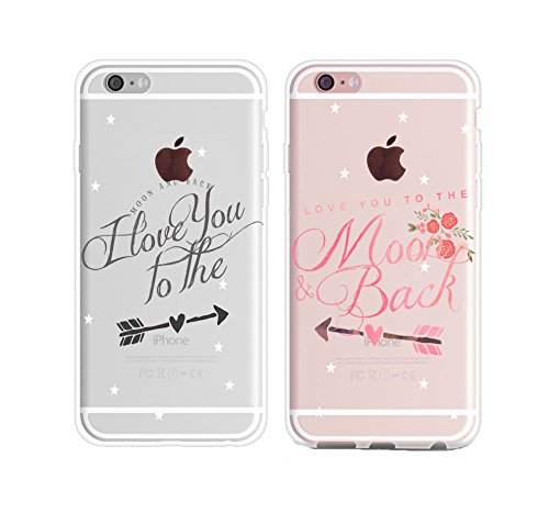 Boyfriend Girlfriend Hubby Wiffy Cute I Love You to the Moon and Back Star Rubber Clear iPhone 7 Plus Couples King Queen Cases Matching Christmas Wedding Anniversary Gift Idea