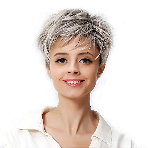 Clearance Grey Wigs for Black Women Side Part Short Bob Wig Heat Resistant Synthetic Fiber Hair Cosplay Party Full Wig