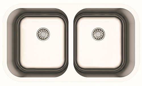 Made in Europe 32 Inch Stainless Steel 50/50 Double Bowl Dual Mount Kitchen Sink with Two Strainers (Installs Over Mount or Under Mount) for 36 Inch Cabinet (Sink Basin Undermount Double Kitchen)
