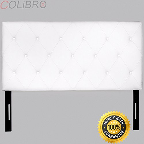 COLIBROX--Upholstered Tufted diamond button Headboard Queen Modern pu leather Bedroom. tufted headboard diy. diamond tufted headboard with crystal buttons. diamond tufted bed.diamond tufting pattern.