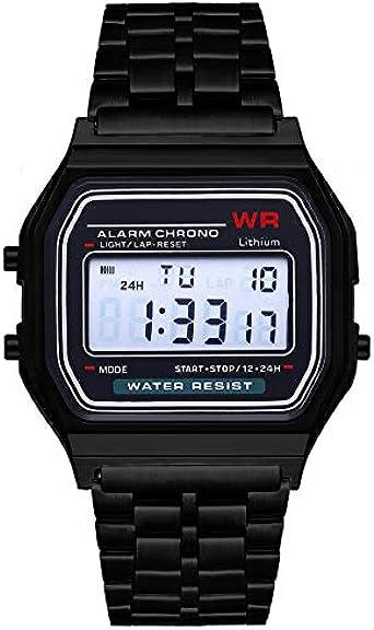 Moda Vintage LED Reloj Digital Correa de Acero Inoxidable Alarma Reloj de Pulsera Vestido Business Reloj de Pulsera para Hombres, Mujeres - Negro: Amazon.es: Relojes