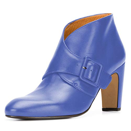 Booties Pointed YDN with Blue Women High V Heel Toe Boots Fashion Chunky Shoes Cut Buckle nxngrF
