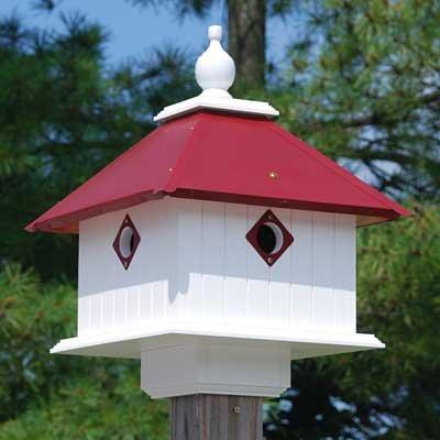 Cheap Wing & A Prayer Carriage Bird House, Merlot Red Roof