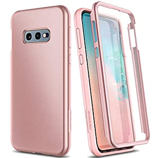 "SURITCH Case for Samsung Galaxy S10e,【Built in Screen Protector】【Support Wireless Charging】 Rugged Back Cover Hybrid Bumper 360 Protective Case Matte Shockproof for S10e Case 5.8""(Rose Gold)"