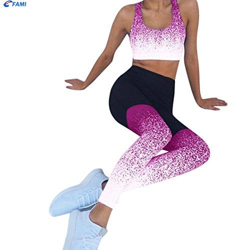 lastique Pantalon Taille de Femme Familizo Pantalon Rose pour Yoga Vif Haute WYdUxS4p