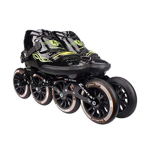 ショートカット消費する最少ailj ローラースケート4輪90MM-110MM車輪調整可能なインラインスケート、ストレートスケートシューズ(4色) (色 : 黒, サイズ さいず : EU 46/US 13/UK 12/JP 28cm)