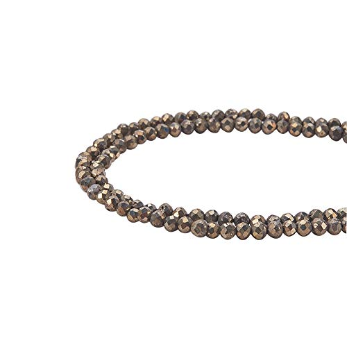 - PH PandaHall 2 Strand About 356pcs 2mm Faceted Pyrite Rondelle Gemstone Beads for Jewerly Making Findings 14.9
