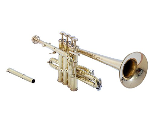 eMusicals Picollo Trumpet Bb Pitch With Free Hard Case And Mouthpiece, Brass by NASIR ALI