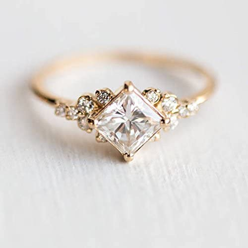 Fashion Cute Pear Cut Fire Opal Crystal Rings Rose Gold Bridal Gifts Size 6-10