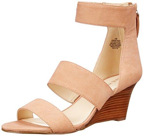 Nine West Women's Risktaker Nubuck Wedge Sandal, Natural, 9 M US