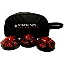 StonePoint Emergency Roadside Beacon LED Lighting Flare Kit with Storage Bag - Super Bright Light, Visible Up To 2 Miles Away - Red, Set of 3