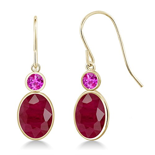 4.04 Ct Oval Red Ruby Pink Sapphire 14K Yellow Gold Earrings 14k Yellow Gold Pink Sapphire