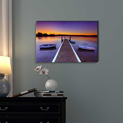Beautiful Scenery of Little Boats Moored to a Jetty Pier at Sunset Wall Decor