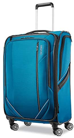 American Tourister Zoom Turbo Softside Expandable Spinner Wheel Luggage, Teal Blue, Checked-Medium 25-Inch