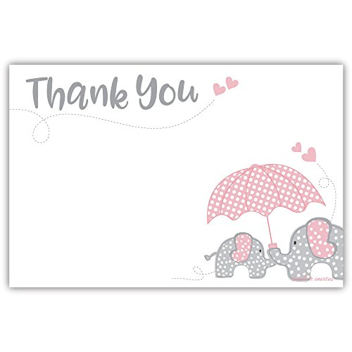 Elephant Girl Baby Shower Thank You Cards (20 Count)