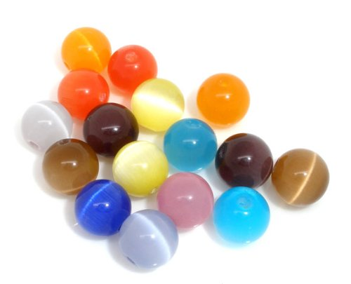 PEPPERLONELY Brand 50PC Mixed Synthetic Cat's Eye Glass Round Beads (8mm Cats Eyes Glass Beads)