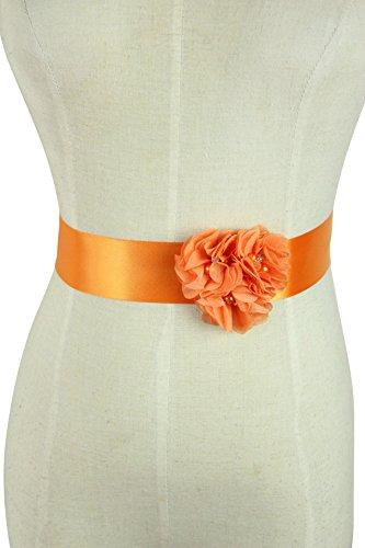 Lemandy Three Handmade Flowers Romantic Wedding Evening Dress Belts (Orange)