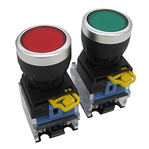 TWTADE / 2pcs 22mm Panel Mount 10A 440V 1NO 1NC DPST Red Green Momentary Push Button Switch Pushbutton Switches (Quality Assurance for 3 Years) LA38-11BN/GR
