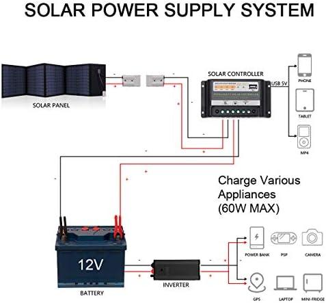 SARONIC Pannello Solare Pieghevole Portatile da 60W 12V con Un Regolatore di Carica Solare da 10A per Caravan, Motorhome Rallies, Fiere, uffici Mobili 12V