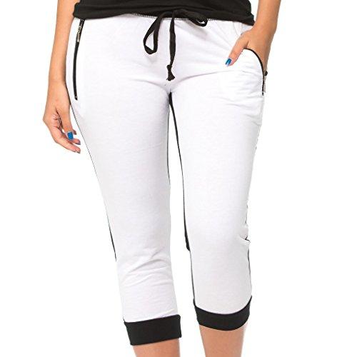 [E312C-WH-L] Coco-Limon Women Capri Joggers, French Terry, Cropped Sweatpant White Large