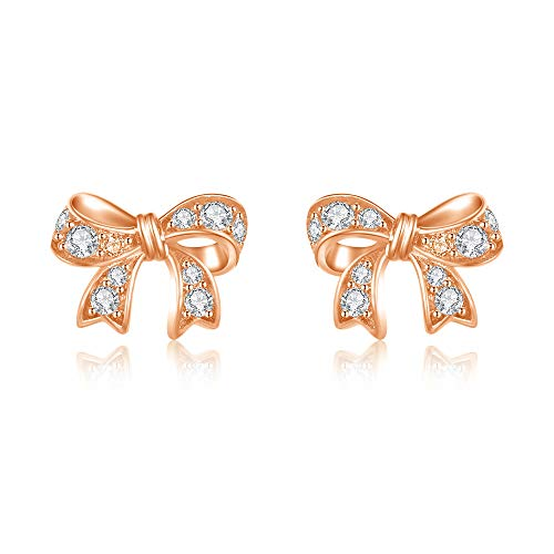 - Italina Stud Bow Shaped Earrings Cubic Zirconia Round Cut Jewelry Earrings for Women Girls Fashion