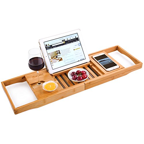 HANKEY Bamboo Bathtub Caddy Tray (Extendable) Luxury Spa Organizer with Folding Sides | Natural, Ecofriendly Wood | Integrated Tablet, Smartphone, Wine, Book Holders - Wine Accessory Valet
