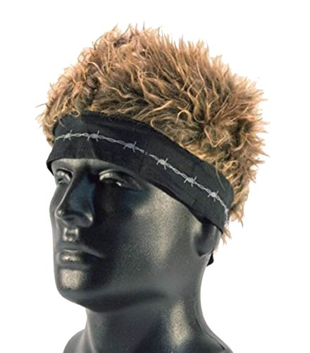 (Brand New Novelty Billy Bob Bandana with Crazy Spiked Brown Hair)