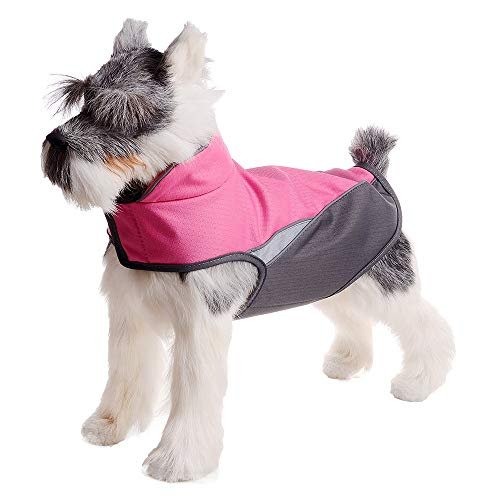 (FOREYY Dog Jacket with Waterproof Outer Layer and Warm Fleece Inner Layer - Reflective Dog Pet Winter Coat Vest Apparel for Small Medium and Large Dogs(Rose Red,S) )