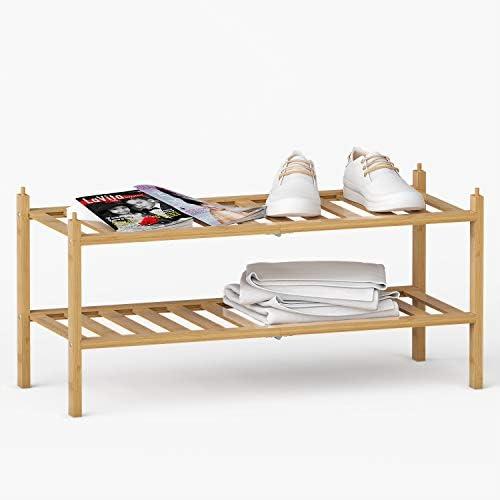 "BAMEOS 2-Tier Shoe Rack,Bamboo Stackable Shoe shelf Storage Organizer,27""x11""x13"" For Entryway, Hallway, and Closet"
