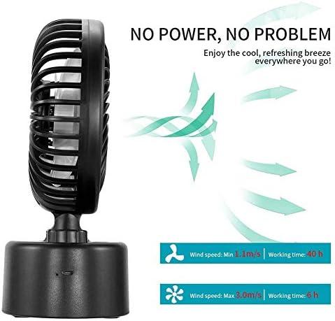 ZXL Ventilatore da Scrivania USB, velocità Continua, A Batteria, Potente Mini Ventilatore Silenzioso per Scrivania da Camera da Letto All\'aperto, Nero