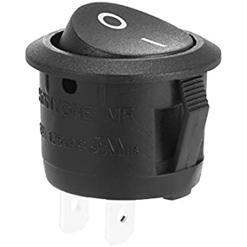 uxcell AC250V/10A 125V/12A 2 Terminal Toggle SPST On/Off 2 Position Round Button Small Boat Rocker Switch