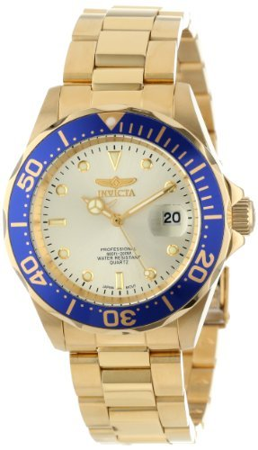 Invicta Men's 14124 Pro Diver Gold Dial 18k Gold Ion-Plated Stainless Steel (Invicta Band Bracelet)