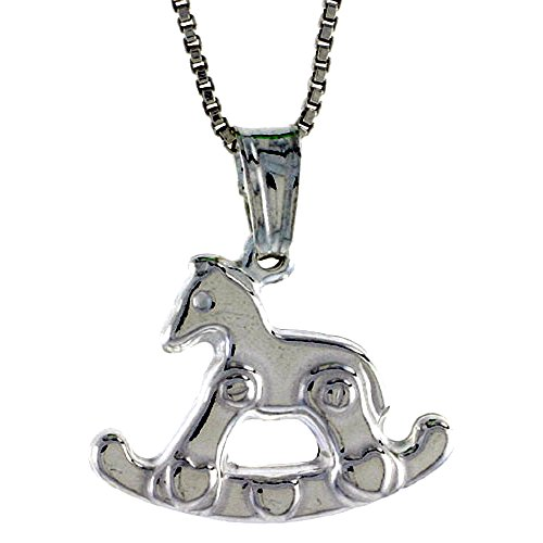 (Sterling Silver Rocking Horse Pendant Hollow Italy 9/16 inch (15 mm) Tall)