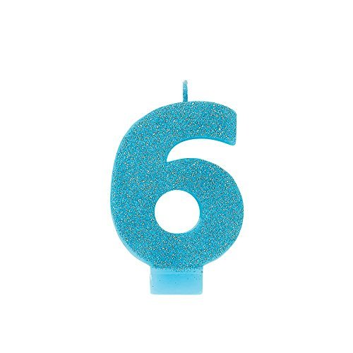 amscan Birthday Celebration, Numeral #6 Glitter Candle, Party Supplies, Caribbean Blue, 3 1/4