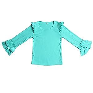 Yawoo Haan Kids Girls Ruffle Long Sleeve Cotton T-Shirts Baby Casual Tees Green 4T