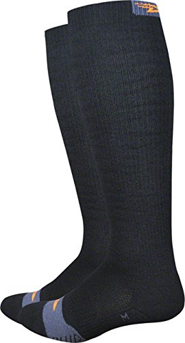 DEFEET THERMKHOR201 Thermeator Knee High Socks, Medium, Black Thermolite/Orange