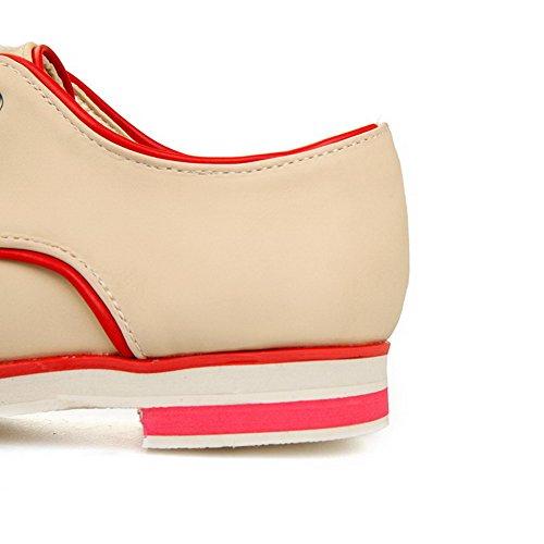 AgooLar Damen Schnüren Niedriger Absatz PU Gemischte Farbe Pumps Schuhe Cremefarben