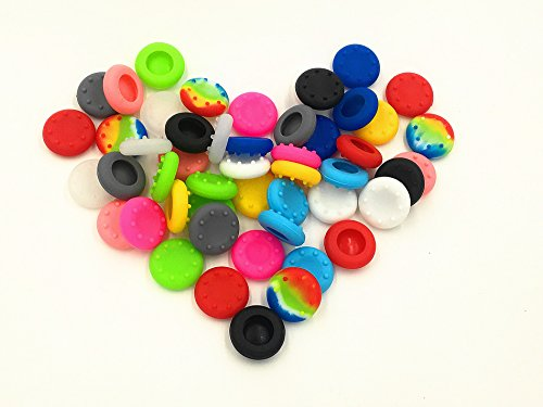 Babycola's Mum 50pcs Colorful Silicone Accessories Replacement Parts Thumb Grip Cap Cover For PS2, PS3, PS4, XBox 360, XBox One Controller