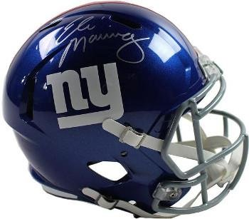 Helmet Autographed Eli Manning Replica (Signed Eli Manning Helmet - Riddell Full Size Replica Speed Hologram - Steiner Sports Certified - Autographed NFL Helmets)