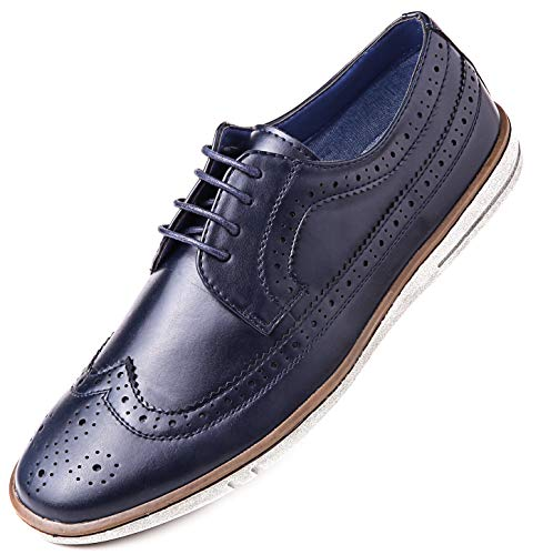 Mio Marino Mens Casual Dress Shoes - Wingtip Brogue Business Fashion Oxford Shoes for Men - Wingtip Claviko Collection - Navy - 10.5 D(M) US (Men Zara Shoes)